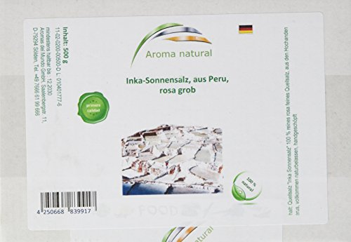 Aroma natural Inka-Sonnensalz, aus Peru, rosa grob, 1er Pack (1 x 500 g)