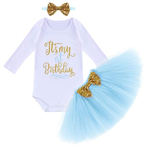 Baby Mädchen Es ist Mein 1. Geburtstag Outfit Kleinkinder erstes Geburtstagskleid Pinzessin Tütü Tüll Rock Langarm Strampler Body Pailletten Stirnband 3tlg Bekleidungsset Fotoshooting Blau 1 Jahr