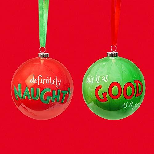 Santa's Workshop The Grinch Set of 2 Baubles - Naughty & Good
