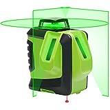 Huepar グリーン レーザー墨出し器 360° 横 フルライン 大矩照射モデル 緑色 レーザー クロスライン 垂直ライン2本 水平ライン360° 地墨照射 ミニ型 622CG