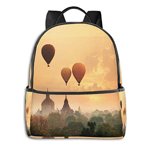 Schulrucksack Schultaschen Mädchen Teenager Rucksack Schultasche Schulrucksäcke wasserdichte Backpack für Damen Herren Geeignet 14 Zoll Notebook Myanmar Sonnenaufgang Morgen Zeit Ballon
