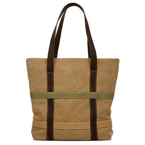 Mike Wodehous Freizeit Retro High-Volume Schnittmuster Taschen-Tasche Leinwand-Taschen-Handtasche (Farbe : Khaki)