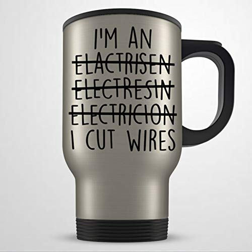 Taza de viaje para electricista, regalo de electricista, para hombres y mujeres, ingeniero eléctrico, taza de viaje, taza de café, taza de té, regalo de vacaciones