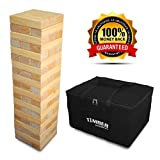 Giant Timber - Jumbo Size Wood Game - Ideal for Outdoors - Perfect for Adults, Kids 60 XL Pcs 7.5 x 2.5 x 1.5 Inch - Over 5 Feet