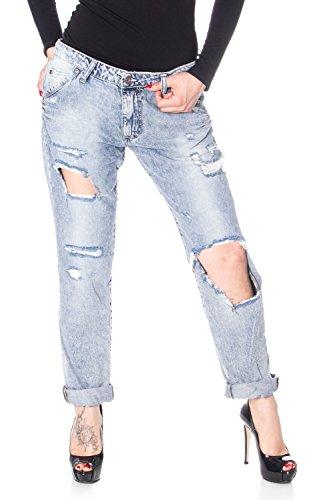 Please Frauen Jeans P85 GERISSEN GERISSEN m licht Denim