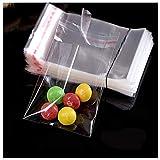 Dancepandas Bolsas de Celofán Transparente 500PCS Bolsitas Caramelos Plástico Celofan Regalos Bolsa de Plástico de Cierre para Caramelo Bombones Regalos (7 * 12cm con Adhesivo)