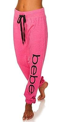 bebe Womens Elastic Waist Ankle Drawstring Lounge Pajama Sleep Pants Fuchsia Heather Large by