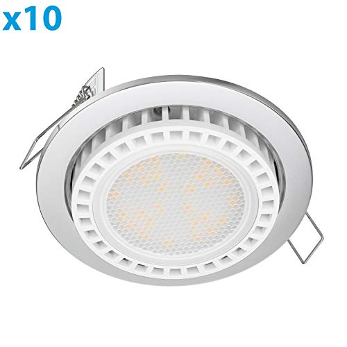 ledscom.de LED Einbauring Zobe Slim GX53 Chrom matt rund 11,5W=62W 830lm warm-weiß 107mm Ø Lochkreis 90mm Ø, 10 STK.