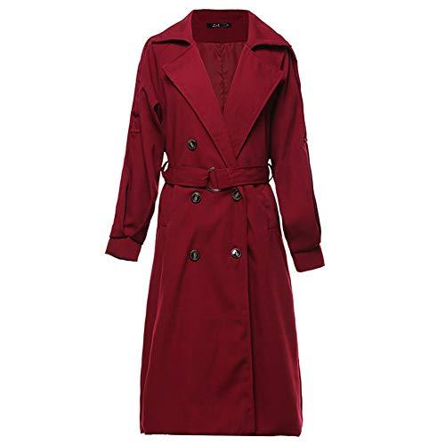 NXLWXN dames geruit mantel lange trenchcoat slank winterjas revers gewatteerde mantel slim fit mode zakken casual lange mouwen