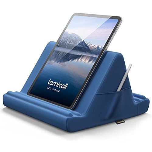 Lamicall Soporte de Almohada para Tablet - Almohada Soporte Sofá Cama para 2021 iPad Pro 9.7, 10.5, 12.9, iPad Air 2 3 4, iPad Mini 1 2 3 4, Switch, Samsung Tab, iPhone, Otras Tablets - Azul