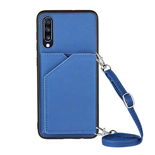 Cartera de tarjeta de crédito con cordón para Samsung Galaxy A70 y A70S (azul)