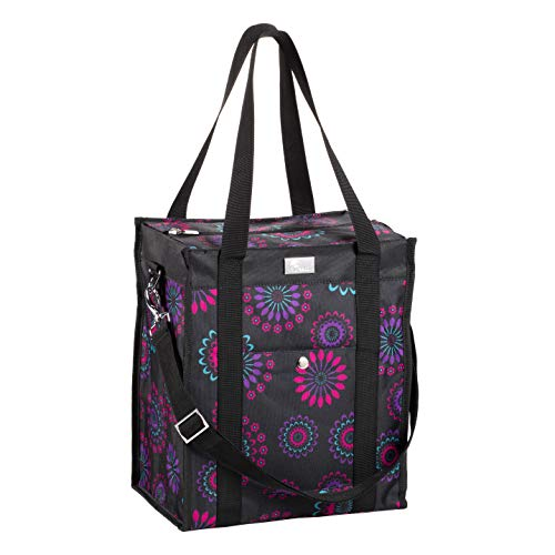 Pursetti Utility Tote Bag (North-South Style) - Perfect as Commuter Bag with Exterior & Interior Pockets for Working Women, Teachers, Nurses and More (Purple Circle)