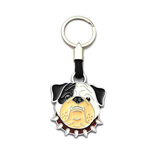 SOUVENIRS INSTANTE REGALOS Llavero Perro Bulldog inglés 6 Cm. con argolla y mosquetón (Rojo)