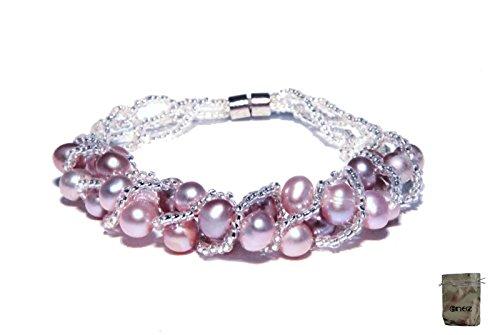 Original Enez Echt Süßwasser Zucht Perlenkette Armband Armkette 19cm Magnetverschluß R1290 + Geschenkbeutel