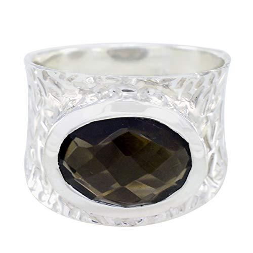 joyas plata piedras preciosas reales forma ovalada una piedra cheker anillo de cuarzo ahumado - anillo de cuarzo ahumado marrón plata 925 - nacimiento de enero capricornio