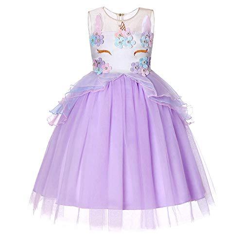 Mädchen Einhorn Kleid Kostüm Cosplay Party Outfit Kostüm Prinzessin Tutu Rock Festival Geburtstag Pageant Karneval Foto Shoot Halloween 2-7 Jahre (2-3 Jahre, Lila)