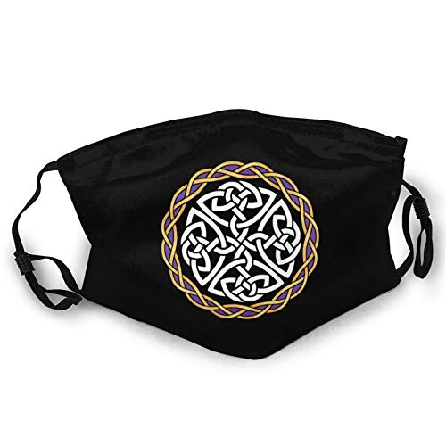 Irish Shield Warrior Celtic Cross Knot Face Mask for Women & Men Dust Adjustable Reusable Cloth Washable Black