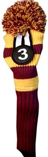 Majek #3 New York Mall Fairway Metal Wood Golf Knit Max 77% OFF Purple Yellow Headcover