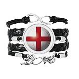 イングランドの国旗のサッカー・ワールドカップ 愛のアクセサリーツイストレザーニットロープリストバンド編み