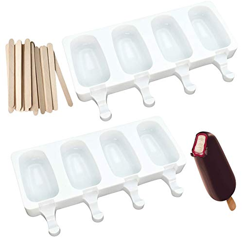Popsicle Molds, Silicone Ice Pop Molds Homemade Popsicle Maker with 50 Wooden Sticks for DIY Ice Cream, Can also be used for Cake Baking