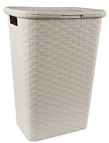 Spetebo Wäschebox in Flechtoptik 65 Liter - Creme - Wäschetruhe Wäschekorb