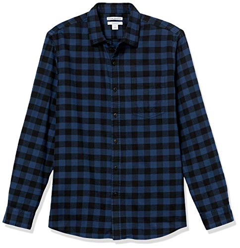 Amazon Essentials Camicia Slim Fit a Maniche Lunghe in Flanella Button-Down-Shirts, Plaid di Bufalo Blu, 45-47