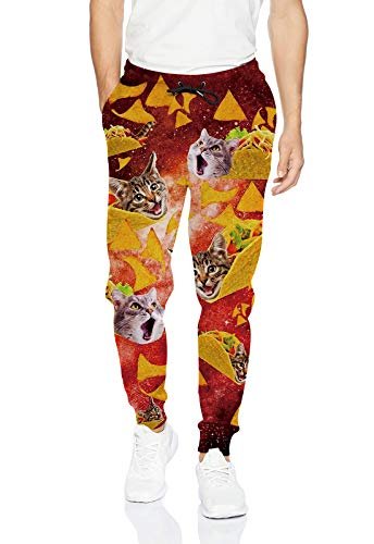uideazone Men's Jogging Pant Fashion 3D Print Tacos Pizza Cat Graphic Sweatpants Artistic Casual Pants Joggers Orange