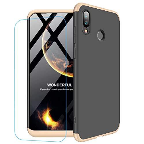Funda Huawei Honor Play + Vidrio Templado Lanpangzi 360°Caja Caso 3 in 1 Carcasa Todo Incluido Anti-Scratch Case Cover Protectora de teléfono para Huawei Honor Play - Oro Negro