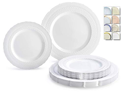 ' OCCASIONS' 50 Plates Pack (25 Guests)-Extra Heavyweight Vintage Wedding Disposable/Reusable Plastic Plates -25x11'' Dinner + 25x8.25'' Salad/Dessert (Chateau Collection White)