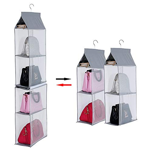 KEEPJOY Detachable Hanging Handbag OrganizerPurse Storage Bag for Closet with 4 Shelves Storage Purse Holder for Wardrobe Closet Space Saving Purse Organizers SystemGray
