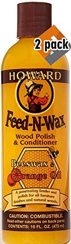 Howard Products FW0016 Feed-N-Wax Wood Polish and Conditioner, Beeswax &, 16 oz, orange, 16 Fl Oz New Version