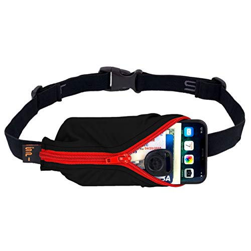 """SPIbelt Running Belt Large Pocket, No-Bounce Waist Bag for Runners, iPhone 6 7 8-Plus X Athletes and Adventurers (Black with Red Zipper, 25"""" Through 47"""")"""