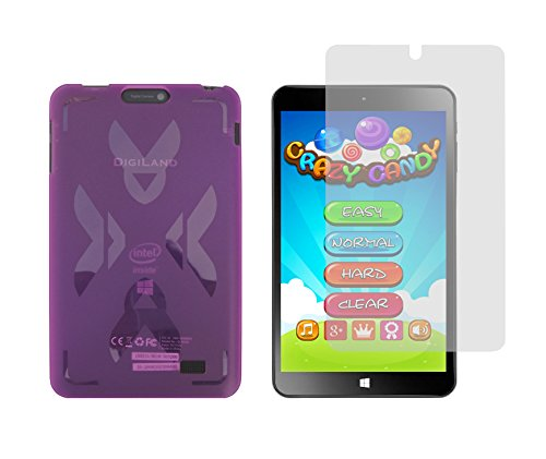 """Purple TPU Rubber Cover Case + Clear Screen Protector for DigiLand DL808W 8"""" Windows 10 Tablet"""