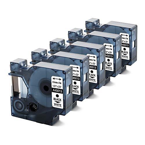 Anycolor D1 12mm 45013 cinta de etiquetas Compatible para usar en lugar de DYMO, 5 Roll negro sobre blanco S072053 para Dymo LabelManager 160 280 260P 360D 500TS LabelWriter 450 DUO LabelPoint 150 250