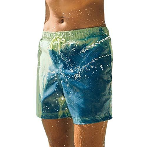Jodimitty Herren Badeshorts Farbwechselnde Hose Badehose Strand Sommerhose elastischer Bund Schnelltrocknende Surfing Shorts Sport Sommer Hosen
