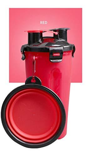 Kaffeetasse Reisebecher Mugs 2-In-1-Hundefutterautomat Wasser- Und Futterbehälter Trinkflasche Für Hunde Im Freien 2-Er Hundenapf Reisefutter Katzenfutter-Zubehör Schalenbecher Comedero Perro, Rot