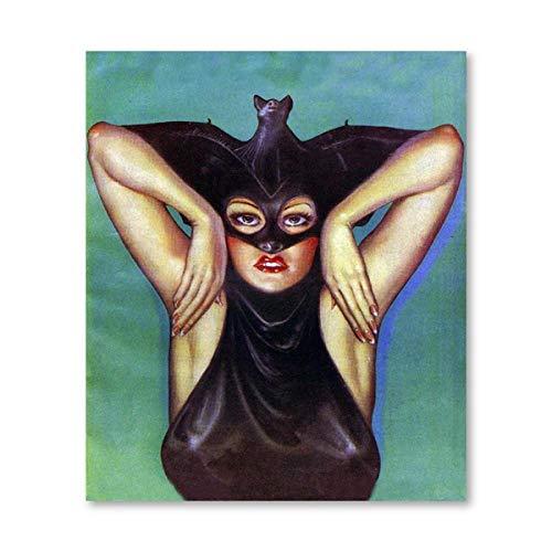 YWOHP Extraño Bat Girl Vintage ilustración Lienzo póster Vampiro Disfraz Impresiones niña habitación Arte de la Pared Pintura Imagen decoración de halloween-30x40_cm_No_Frame_PB680