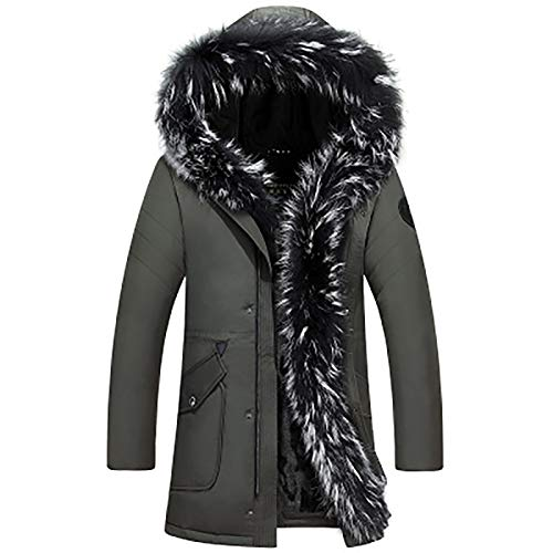 IUYF Männer Lange Daunenjacke, Winter warme Jacke, Dicker Parka-Mantel im Freien Green-XXXXL