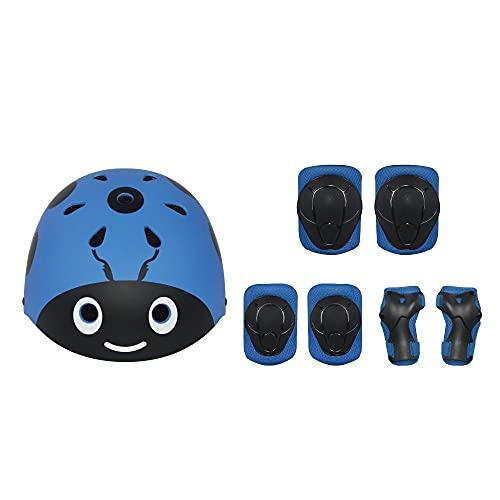 Casque de vélo Enfants Set Skateboard Tampons à genouillère Kids Casque Coupeaux Coupeaux de poigne-Bracelet Réglable pour 4~11 Ans Girl Garçon Enfants,Blue