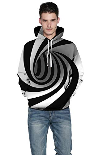 Men's Fashion Novelty Sweatshirts Animal 3D Printed Hoodies Tracksuits Tops (3D Stripes, Large/X-Large)