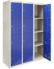 MonsterShop - 3 Taquillas con 4 Puertas Azules de Acero 45cm x 114cm x 180cm para Escuelas, Gimnasios y Vestuarios