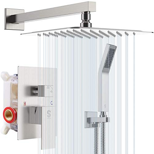 SR SUN RISE 10 Inches Bathroom Luxury Rain Mixer Shower Combo Set Wall Mounted Rainfall Shower Head System Brushed Nickel Finish Shower Faucet Rough-In Valve Body and Trim Included
