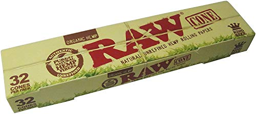 RAW Organic Unrefined Pre-Rolled Cone 32 Count (King Size)
