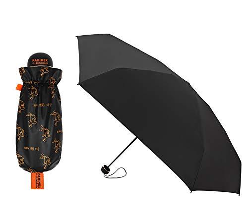 PARIMEX Sun&Rain Paraguas Mini Mujer (18 cm Cerrado) y superligero. Paraguas Plegable protección Solar SPF 50+Plus. Paraguas Antiviento y antigoteo. (Gris) (Negro)
