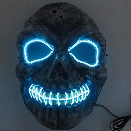 BFMBCHDJ Neon Masken Halloween Scary Schädel Maske LED Masque Maskerade Mascara Cosplay Karneval...
