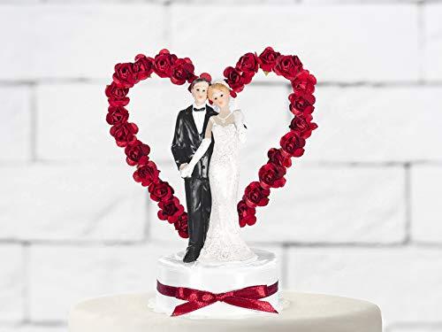 cama24com Hochzeitsfigur Brautpaar HochzeitTortenfigur Tortendeko mit Rosenherz rot mit Palandi® Sticker