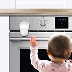 EUDEMON Child Safety Heat-Resistant Oven Door Lock, Oven Front Lock for Kids Easy to Install, Use 3M Adhesive,No Screws or Drill (White)