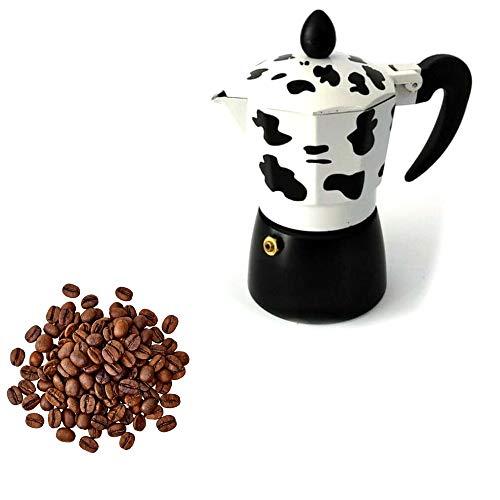 FAST WORLD SHOPPING ® Espressokocher 3 Tassen Espressomaschine Napoletano Moka Express Kuh Mukka Coffee