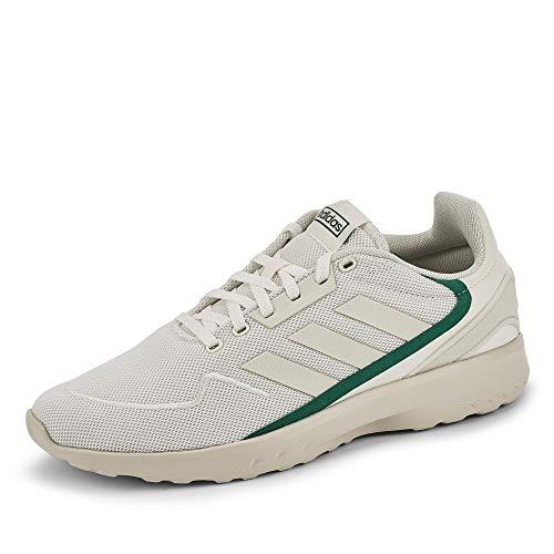 adidas NEBZED, Zapatillas de Running Hombre, Cloud White/Orbit Grey/Collegiate Green, 44 EU