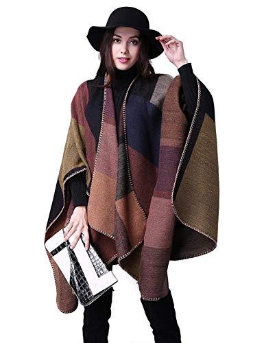 Poncho Donna Mantella Maglione Largo Moda Scollo a V Aperto Cape Eleganza Cardigan e Cappotto Moda Disegni Geometrici Irregolare Sciarpa Scialle Autunno Inverno